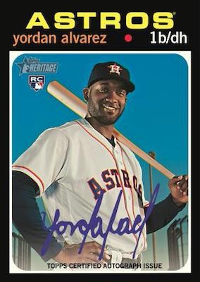 2020 Topps Heritage Baseball Cards Real One Autograph Yordan Alvarez RC