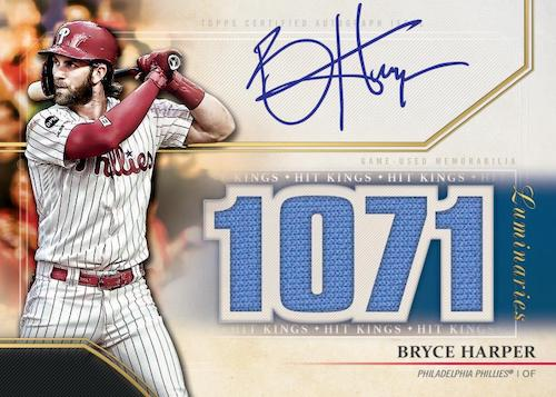 2020 Topps Luminaries Baseball Cards Hit Kings Autograph Relic Blue Bryce Harper