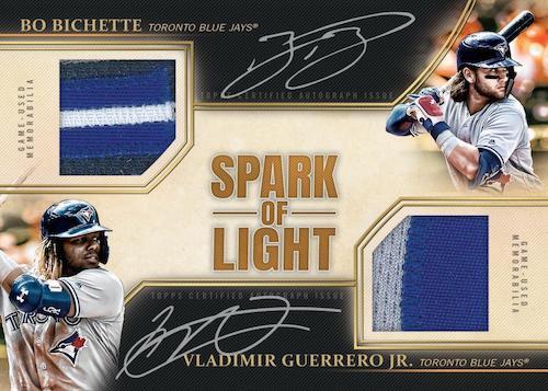 2020 Topps Luminaries Baseball Cards Spark of Light Dual Autograph Patch Bo Bichette Vladimir Guerrero Jr.