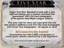 2018 Topps Five Star Baseball Hobby 8 Box Case
