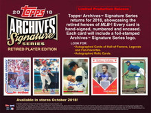 2018 Topps Archives Signature Series Retired Player Edition Baseball Box