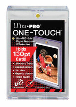 """Ultra PRO's ONE-TOUCH holders are premium trading card storage cases designed as the final destination for your collectible trading cards. The two-piece ONE-TOUCH holders are uniquely designed with slide-in hinges and magnetic closure so you'll never have to use a screwdriver again. The holder uses UV-blocking additives to protect your card from harmful UV-rays, and is made with non-PVC materials to provide acid-free protection - ensuring your valuable hit retains its condition while under display. Our ONE-TOUCH holders are ideal for presenting prized and super rare gaming cards as well. This model can hold standard cards (2-1/2"""" X 3-1/2"""") up to 130pt in thickness."""