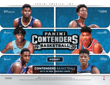 2019/20 Panini Contenders Basketball Hobby Box    Configuration: 12 packs per box. 10 cards per pack.   PRODUCT HIGHLIGHTS - Panini  Contenders basketball is back with the highly anticipated on-card Rookie Ticket Autographs! Chase this year's top rookies in one of the most popular rookie autograph sets. - Chase rare Rookie Season Tickets Cracked Ice (#'d/25), opti-chrome Rookie Season Tickets Premium Edition Gold (#'d/10), and Rookie Season Tickets Championship Tickets (#'d/1), Rookie Season Tickets Premium Edition Gold Vinyl (#'d/1) and many more! - Look for Veteran Season Tickets, which feature current and retired NBA stars with on-card autographs! - New to 2019/20 Panini Contenders Basketball, the super-short-printed License to Dominate and Permit to Dominate cards!   BOX BREAK - 2 Autographs  ROOKIE TICKET Chase multiple versions of the Rookie Season Ticket Autographs, which showcase the top picks from the 2019 NBA Draft Class!  AUTOGRAPHS Collect league MVPs in multiple sets--and possible future league MVPs in the MVP Contenders Autographs and Sophomore Contenders Autographs sets!  INSERTS Collect a wide array of eye-catching inserts this year! Find License to Dominate and Permit to Dominate this year! Look for a very strong lineup of players throughout all insert sets! Collect the top rookies and superstars of the NBA!