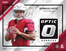 2019 Panini Donruss Optic Football Hobby Box   Configuration: 20 packs per hobby box. 4 cards per pack.   PRODUCT HIGHLIGHTS - One of the most anticipated releases of the year 2019 Donruss Optic Football is loaded with on-card autographs, parallels, and all the best rookies the NFL has to offer. - Hunt for on-card Rated Rookie autographs of Kyler Murray, Dwayne Haskins, Daniel Jones, Nick Bosa, Josh Jacobs and many more! - Find a fresh look in 2019 with new inserts, including 1989 Tribute, 1999 Tribute, MVP, Mythical, Rookies Kings and Power Formulas! - Exclusive to the Hobby look for patch autograph cards in Rookie Patch Autographs, Dynamic Patch Autographs and Legendary Patch Autographs! - Look for the rare and ultra popular case hit insert, Downtown which parallels to Gold Vinyl 1/1!   BOX BREAK: - 1 Autograph - 14 Rookies - 6 Rated Rookies - 10 Parallels - 4 Inserts  BASE Look for a 100-card base set, which features all the best stars the NFL has to offer.  RATED ROOKIES One of the most sought-after rookie cards of the year look for all the newest NFL talent in Rated Rookies.  ROOKIE KINGS AUTOGRAPHS New to 2019 Donruss Optic, Rookie Kings showcases some of the top talent with a unique design fit for royalty.   RATED ROOKIES AUTOGRAPHS Always one of the most sought-after rookie cards, Rated Rookies Autographs features action photography with a bold on-card autograph.  RATED ROOKIES AUTOGRAPHS PARALLELS Find parallels or the Rated Rookie Autographs that include Holo (max #'d /99), Blue (max #'d /75), Red (max #'d /50), Purple (max #'d /35), Black Pandora (max #'d /25), Gold (max #'d /10), Green (max #'d /5) and Gold Vinyl (#'d 1/1).  ROOKIE TRIPLE AUTOGRAPHS Look for some of the best combinations of rookies in Rookie Triple Autographs max numbered to only 25 copies!  1999 TRIBUTE AUTOGRAPHS Paying homage to an old-school design, 1989 Tribute cards are sure to make collectors feel nostalgic about past Donruss products! These parallel to autographs versions max #'d