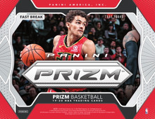 2019/20 Panini Prizm Basketball Fast Break Box   Configuration: 18 packs per box. 5 cards per pack.   PRODUCT HIGHLIGHTS - Prizm is back with a new rainbow of Prizms to collect--including the highly coveted Prizms of Zion Williamson, Ja Morant, RJ Barrett, Rui Hachimura, De'Andre Hunter and more! - Find autographs from rookies, veterans, and all-time NBA Greats in Fast Break Autographs and Fast Break Rookie Autographs. - Collect a new roster of inserts, including Fearless, Widescreen, Luck of the Lottery, Fireworks, and Far Out! - Find 1 autograph and 12 Prizms per Fast Break Box!   BOX BREAK - 1 Autograph - 12 Prizms  PRIZMS FAST BREAK Welcome to the home of the Prizm card! Look for Prizms of your favorite NBA players, from rookies to all-time greats! Prizm features a 300-card base set, making that special Prizm pull, that much more special! Look for numbered versions from 175 all the way down to five!  FAST BREAK ROOKIE AUTOGRAPHS Signatures, Rookie Signatures, and Sensational Signatures deliver a wide array of players to collect! Keep an eye out for Prizms Mojo, Prizms Gold, and Prizms Black!