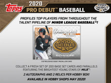 """Configuration: 24 packs per hobby box. 8 cards per hobby pack.  2020 Topps Pro Debut Baseball PROFILES TOP PLAYERS FROM THROUGHOUT THE TALENT PIPELINE OF MINOR LEAGUE BASEBALL!  COLLECT A FRESH SET OF 200 BASE SET CARDS AND PARALLELS FEATURING THE BRIGHTEST YOUNG STARS OF MiLB!  2 AUTOGRAPHS AND 2 RELICS PER HOBBY BOX!     BASE CARDS  Featuring 200 subjects from throughout MiLB. - Blue Parallel: sequentially #'d to 150 - Green Parallel: sequentially #'d to 99 - Gold Parallel: sequentially #'d to 50 - Orange Parallel: sequentially #'d to 25 - Red Parallel: sequentially #'d to 10 - Black Parallel: #'d 1-of-1  Base Set Image Variations - Black Parallel: #'d 1-of-1   INSERT CARDS  Copa de La Diversion – 1:6 Packs Cards highlighting the Copa de La Diversion event series throughout the league that celebrates the U.S. Hispanic/Latino communities around each team. - Black Parallel: sequentially #'d to 1-of-1  Ready for Flight – 1:6 Packs Showcasing the brightest young talent ready to make their ascent up the ladder of the Minor League system. - Green Parallel: sequentially #'d to 99 - Orange Parallel: sequentially #'d to 25 - Black Parallel: #'d 1-of-1 - Autograph Parallel: Varied #'ing - Autograph Black Parallel: #'d 1-of-1  Tape-Measure Power – 1:12 Packs Look for some of the Minor League players with the sweetest swings, ready to give out souvenirs to fans in the bleachers. - Black Parallel: sequentially #'d 1-of-1 - Autograph Parallel: Varied #'ing - Autograph Black Parallel: #'d 1-of-1  2020 """"Make YOUR Pro Debut"""" Winner Card Look for this card featuring the 2019 winner of the """"Make YOUR Pro Debut"""" contest, as they get their moment to shine in their baseball card debut.   AUTOGRAPH CARDS  Base Card Autograph Parallels - Blue Parallel: sequentially #'d to 150 - Green Parallel: sequentially #'d to 99 - Gold Parallel: sequentially #'d to 50 - Orange Parallel: sequentially #'d to 25 - Red Parallel: sequentially #'d to 10 - Black Parallel: #'d 1-of-1  Future Cornerstones - O"""
