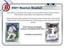 2021 Bowman Baseball Hobby Jumbo HTA 8 Box Case