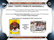 2021 Topps Tribute Baseball Hobby 6 Box Case