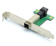Single External MINI SAS HD SFF-8644 to Internal MINI SAS HD SFF-8643 12G Adapter front (view)