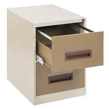 2 Drawer Steel Filing Cabinet With Hanging Rail & Central Locking in Ivory Karoo