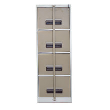 4 Drawer Steel Filing Cabinet with Security Bar, Hanging Rail & Central Locking in Ivory Karoo