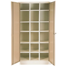 18 Compartment Steel Pigeon Hole Filing Cabinet in Ivory Karoo