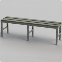 Single Bench with Galvanised Frame & Plastic Slats