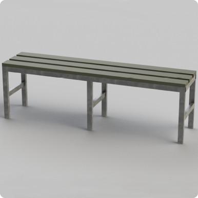 Single Bench with Galvanised Frame & Plastic Slats