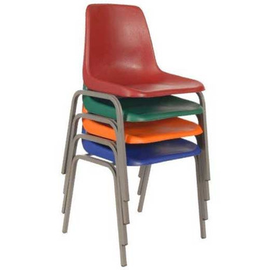 VIRGIN PLASTIC Polyshell Chairs with Stackable Steel Frame