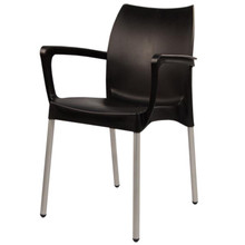 The SMART-101 Stackable Plastic Chair with Anodised Aluminium Legs in BLACK
