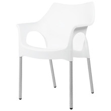 The SMART-104 Stackable Plastic Chair with Armrest and Anodised Aluminium Legs in WHITE