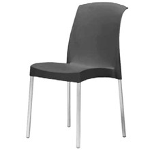 The SMART-107 Stackable Plastic Chair with Anodised Aluminium Legs in BLACK