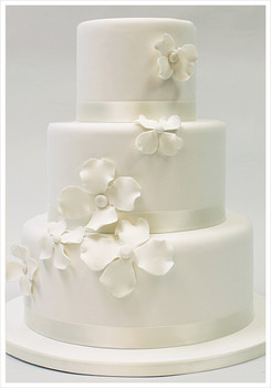 ribbon cake with flowers