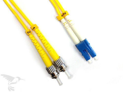 LC to ST Singlemode Duplex 9/125 Fiber Patch Cables, 5M at Hummingbird Networks