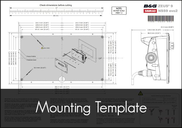 b g simrad zeus2 9 nss9 evo2 mfd mounting template