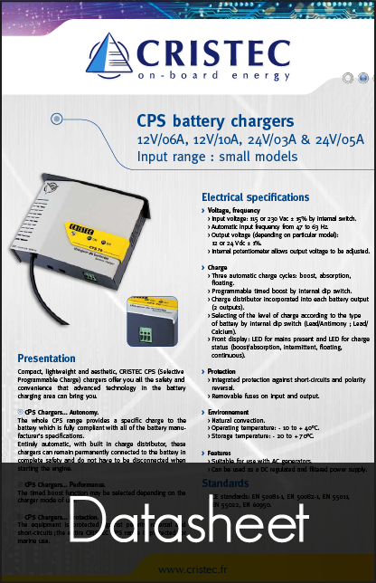 cristec cps battery chargers datasheet