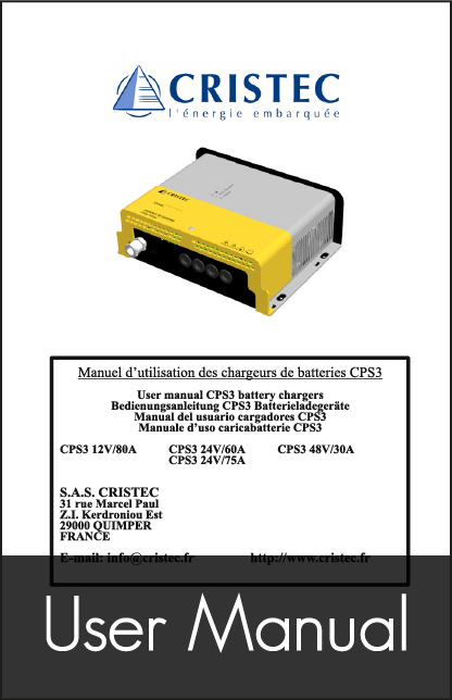 cristec cps3 battery charger user manual