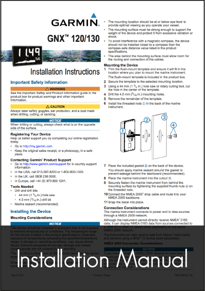 garmin gnx 120 130 marine instrument installation instructions