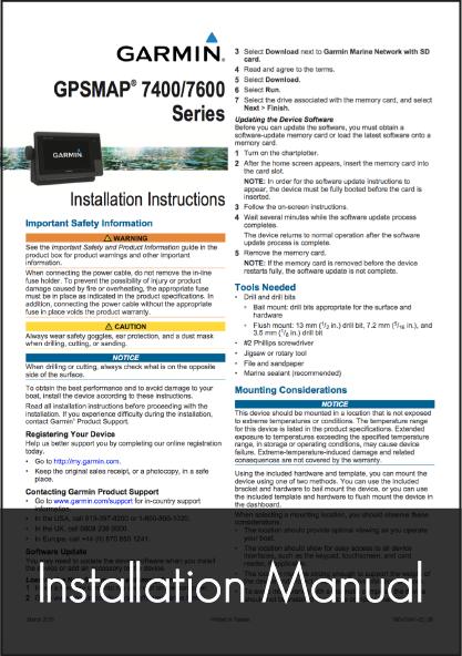 garmin gpsmap 7400 7600 installation instructions