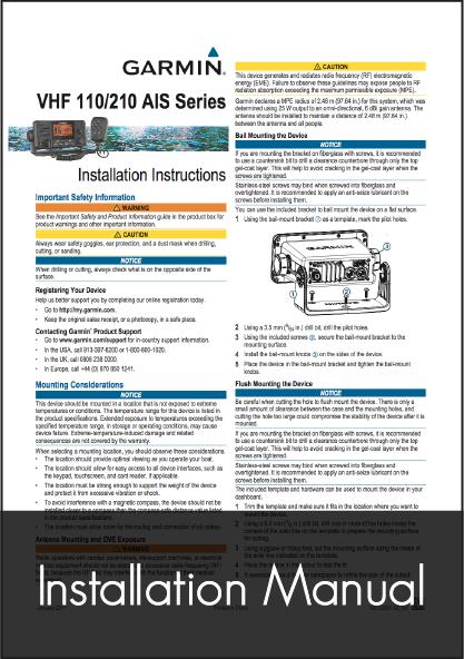 garmin vhf 210i installation instructions