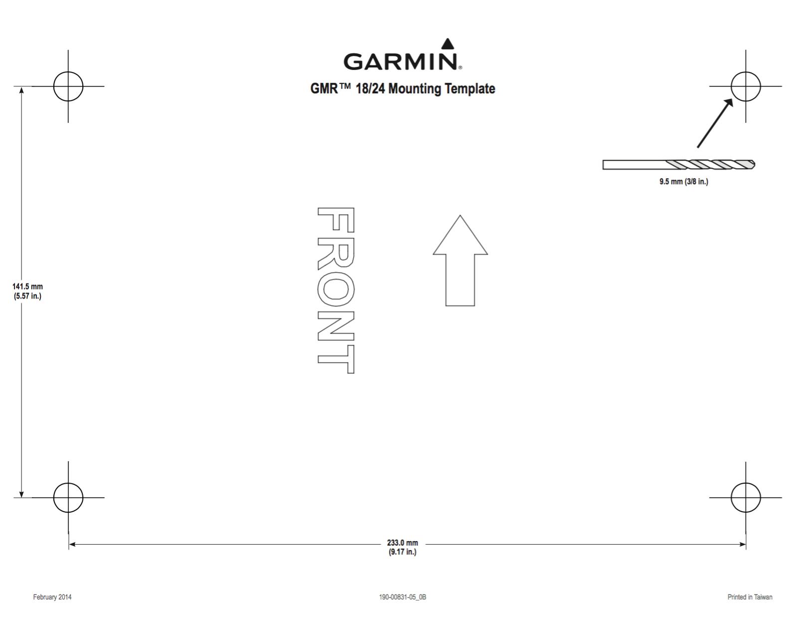 gmr 18 hd radar mounting template