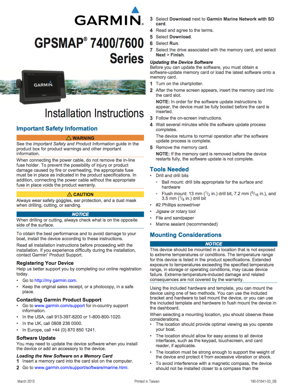 gpsmap 7400 7600 installation instructions