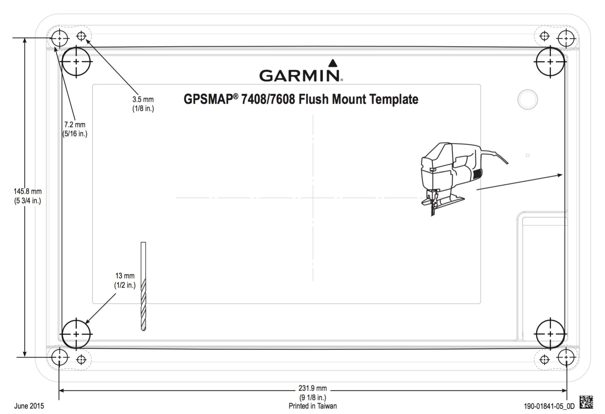 gpsmap 7408 7608 mounting template