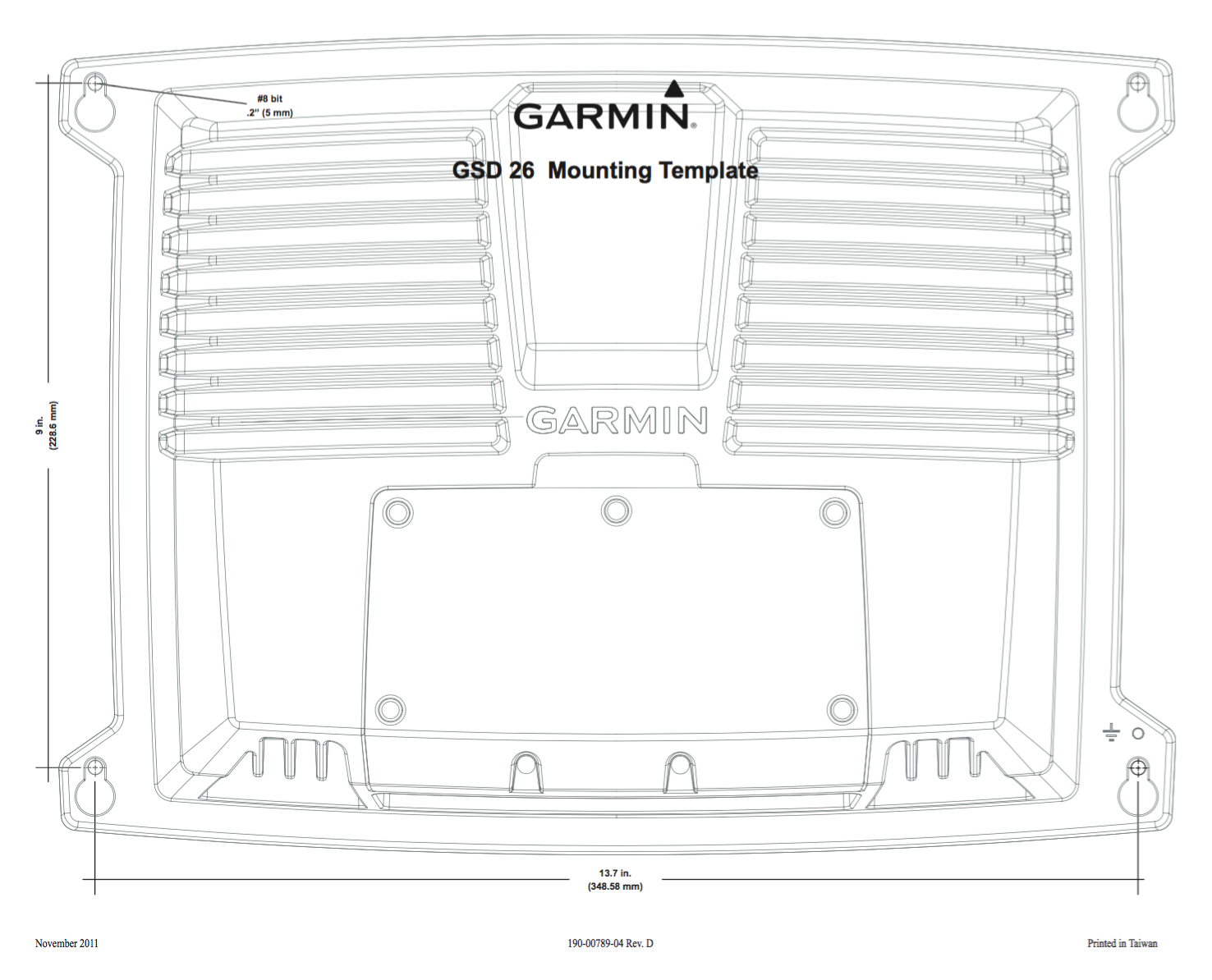 Garmin Gsd 26 Chirp Professional Sonar Module 20 Wiring Diagram Gsd26 Installation Instructions Mounting Template
