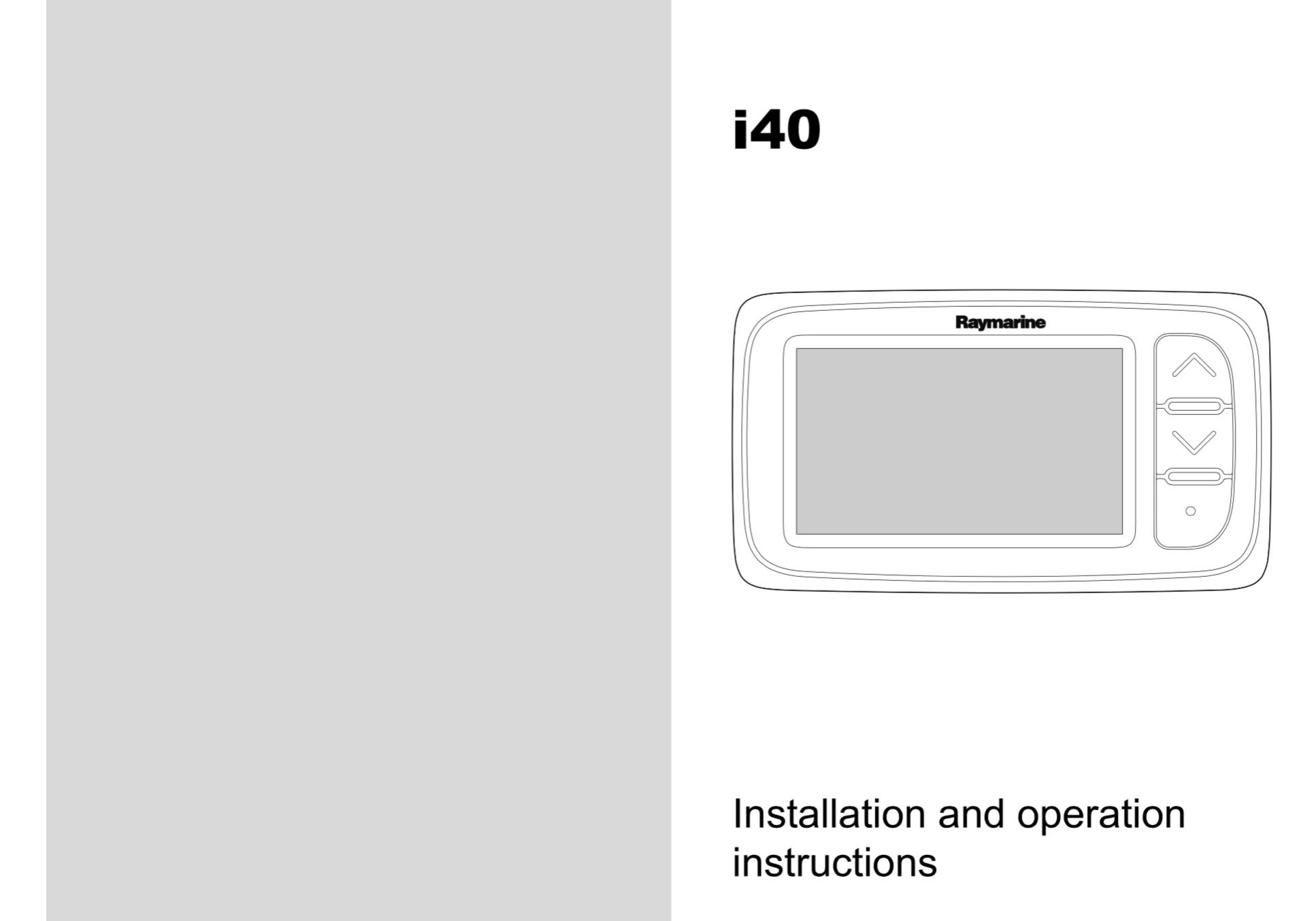 i40 instrument installation operation instructions