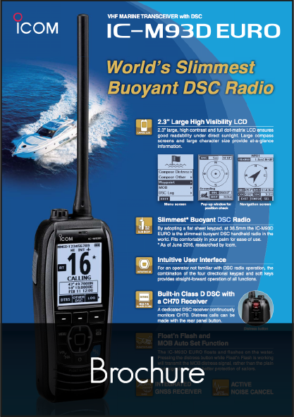 icom ic m93d handheld vhf radio brochure