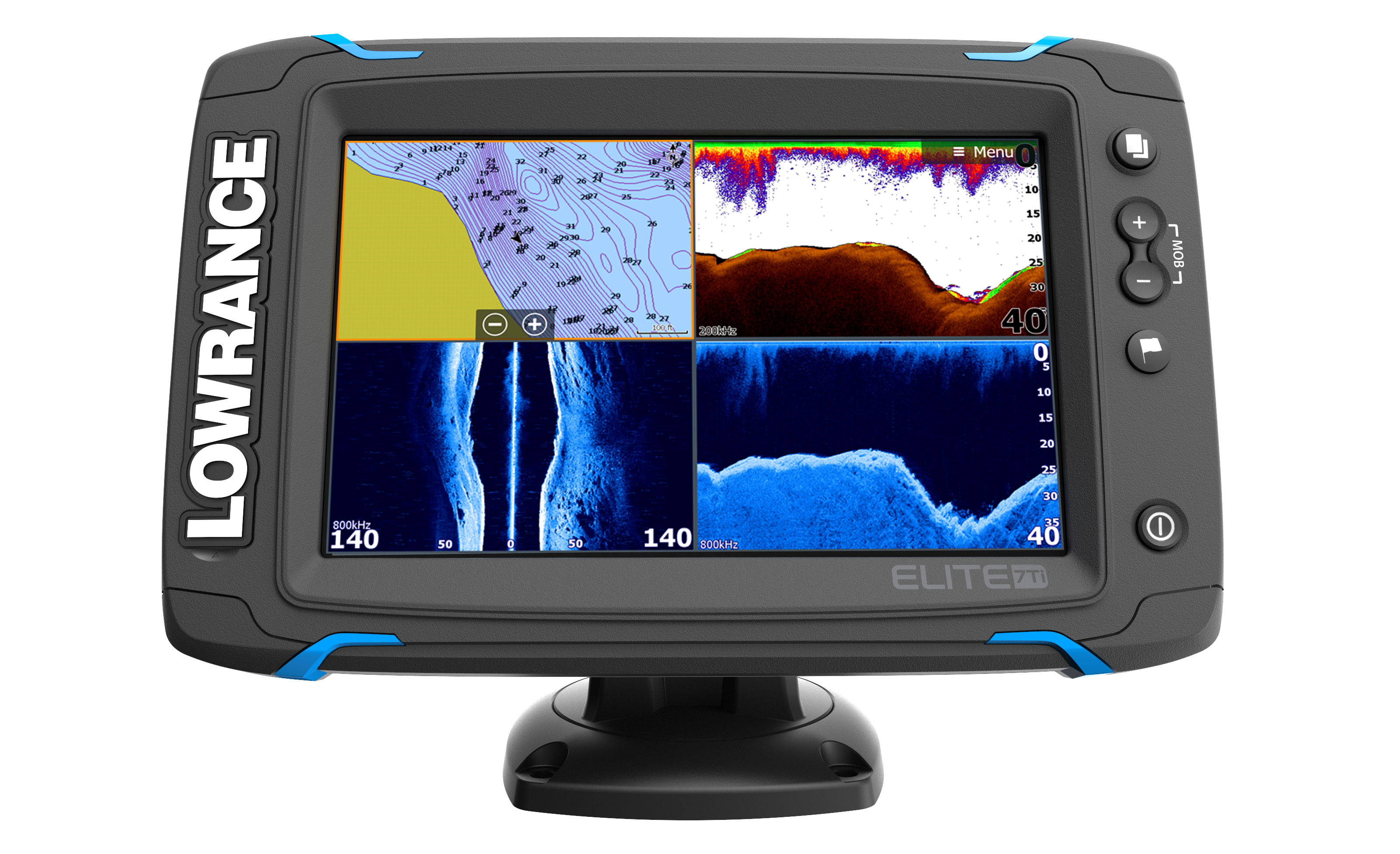 lowrance elite 7 ti gps fishfinder front view