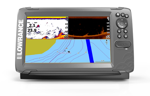 Lowrance HOOK2-9 with Splitshot Transducer & Basemap