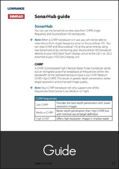 lowrance sonar hub guide