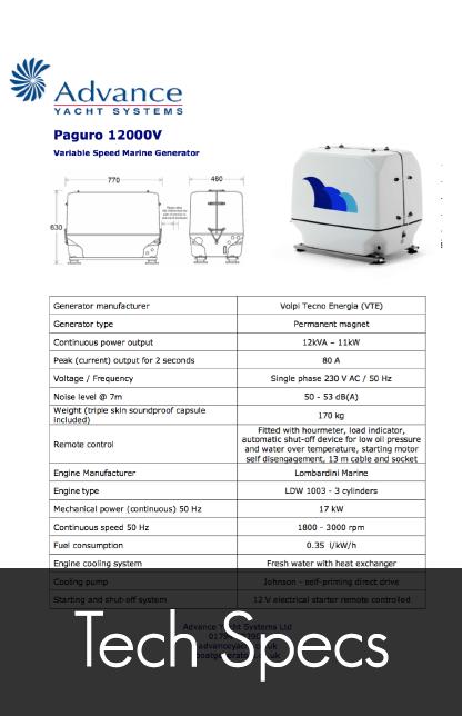 paguro 12000v marine generator tech specs