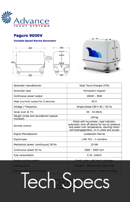 paguro 9000v marine generator tech specs