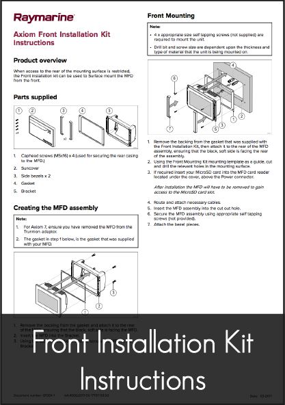 raymarine axiom mfd front installation kit installation instructions