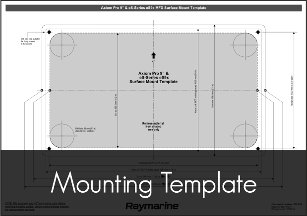 raymarine axiom pro 9 mounting template