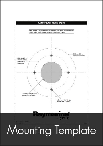 raymarine cam220 ip dome marine camera mounting template