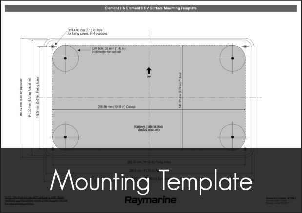 raymarine element 9 mounting template