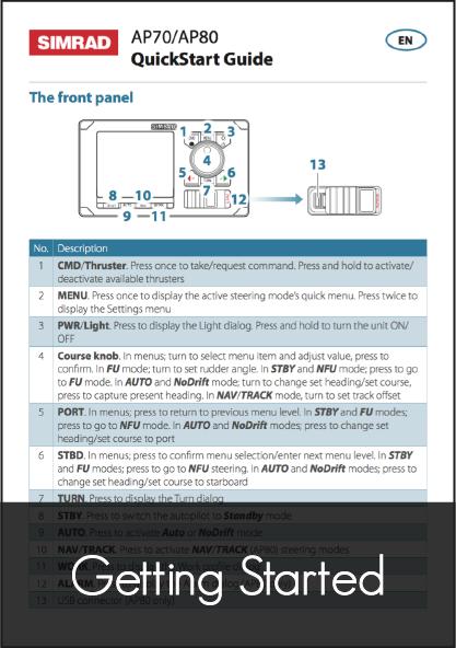 simrad ap70 ap80 autopilot control head quick start guide
