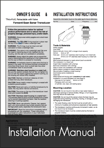 simrad forward scan transducer installation manual