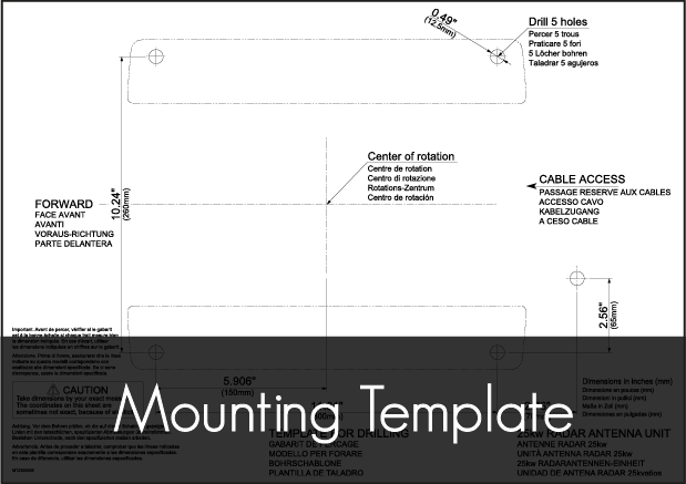 simrad txl 25 7 radar mounting template