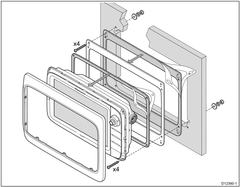 Raymarine c12, e12 Mounting Adaptor Kit for C120/E120 Cutout