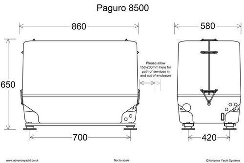 Paguro 8500 Marine Generator Dimensions